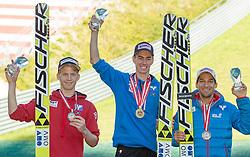 09.10.2014, Bergisel, Innsbruck, AUT, OeSV, Oesterreichische Staatsmeisterschaften Ski Nordisch, im Bild Siegerehrung, v.l.: zweiter Michael Hayböck (AUT), Sieger Stefan Kraft (AUT) und dritter Andreas Kofler (AUT) // during Austrian Nordic Ski Championships at the Bergisel Hill, Innsbruck, Austria on 2014/10/09. EXPA Pictures © 2014, PhotoCredit: EXPA/ JFK