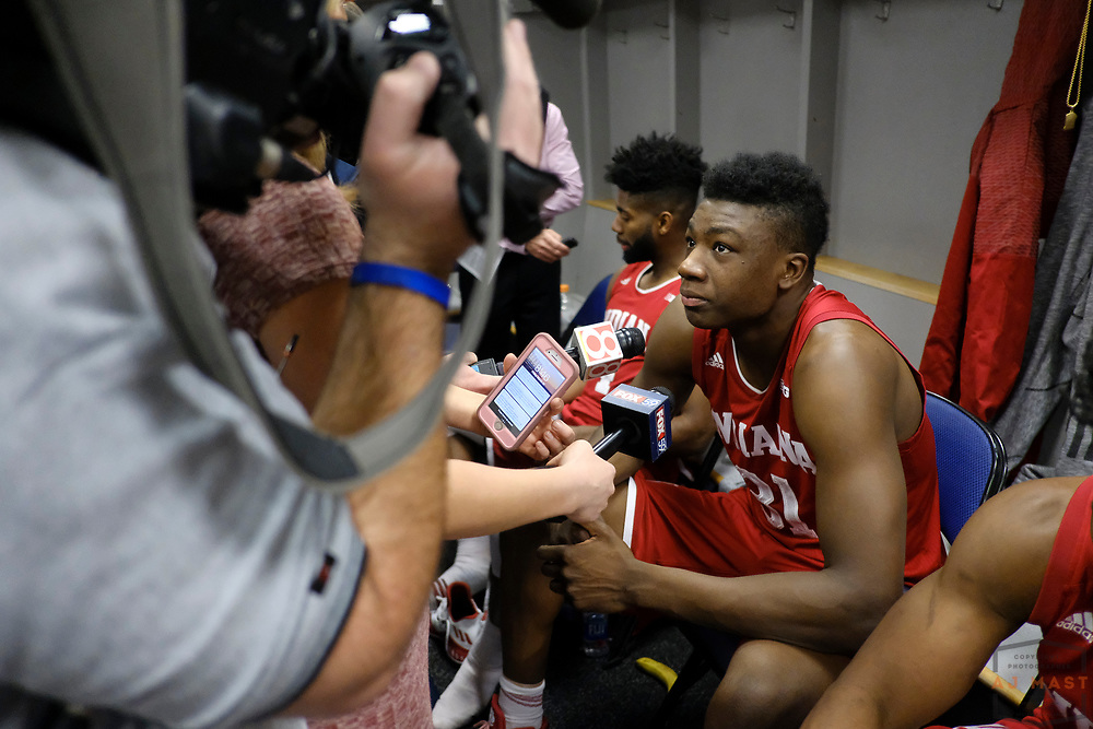 Indiana center Thomas Bryant (31)  after Indiana played Wisconsin in an NCCA college basketball game in the third round of the Big 10 tournament in Washington, D.C., Friday, March 10, 2017. (AJ Mast)