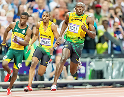 09.08.2012, Olympia Stadion, London, GBR, Olympia 2012, Leichtathletik, im Bild ANASO JOBODWANA 9 WARREN WEIR 8 USAIN BOLT 7 // during Athletics, at the 2012 Summer Olympics at the Olympic Stadium, London, United Kingdom on 2012/08/09. EXPA Pictures © 2012, PhotoCredit: EXPA/ Newspix/ Sebastian Borowski..***** ATTENTION - for AUT, SLO, CRO, SRB, SUI and SWE only *****