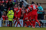 Leyton Orient  celebrate Leyton Orient forward Jay Simpson first goal during the Sky Bet League 2 match between Leyton Orient and York City at the Matchroom Stadium, London, England on 21 November 2015. Photo by Simon Davies.