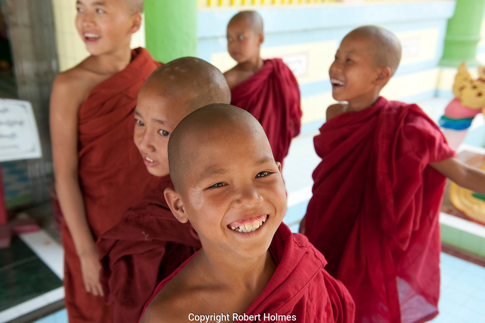 Novice monks at Soon U Ponya Shin Paya, Sagaing Hill, Myanmar