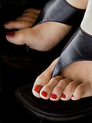 close up of woman feet in fashionable shoes