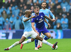 Fabian Delph of Manchester City tackles Joe Ralls of Cardiff City  - Mandatory by-line: Alex James/JMP - 22/09/2018 -  FOOTBALL - Cardiff City Stadium - Cardiff, Wales -  Cardiff City v Manchester City - Premier League