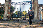 © Licensed to London News Pictures. 05/10/2014. Brentford, UK. Police officers guard the entrance to the park.  Police remove the body of Arnis Zalkains from Boston Manor Park today 5th October 2014. The body of a man, believed to be Latvian killer Arnis Zalkalns, was found in Boston Manor Park, Brentford, almost six weeks after the schoolgirl Alice Gross vanished. Arnis Zalkalns was prime suspect in the murder of 14-year-old Alice Gross.. Photo credit : Stephen Simpson/LNP