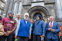 A Peace vigil has been held at a Sikh temple in the Leith district of Edinburgh. The vigil, called by the Muslim Women's Association of Edinburgh and supported by Stand up to Racism Edinburgh, follows a fire at the temple. A 49 year-old man has been charged over the incident.<br /> <br /> Pictured: General Secretary of the Guru Nanak Gurdwara, Wege Landa talking during the vigil