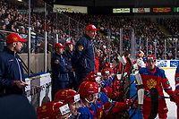 KELOWNA, BC - DECEMBER 18: Team Russia head coach Valeriy Bragin stands on the bench against the Team Sweden at Prospera Place on December 18, 2018 in Kelowna, Canada. (Photo by Marissa Baecker/Getty Images)***Local Caption***