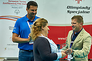 "Katowice, Poland - 2017 September 03: (L-R) SO Ambassador Vladimir ""Vanja"" Grbic a former Serbian volleyball player (he won a gold medal in the 2000 Summer Olympics and a bronze medal in 1996 at Atlanta) and Joanna Styczen - Lasocka (National General Director of Special Olympics Poland) and Krzysztof Krukowski (Director Organizational Development Europe Eurasia Region Special Olympics) while Awarding Ceremony during European Unified Volleyball Tournament 2017 at Spodek Hall on September 03, 2017 in Katowice, Poland.<br /> <br /> Adam Nurkiewicz declares that he has no rights to the image of people at the photographs of his authorship.<br /> <br /> Picture also available in RAW (NEF) or TIFF format on special request.<br /> <br /> Any editorial, commercial or promotional use requires written permission from the author of image.<br /> <br /> Image can be used in the press when the method of use and the signature does not hurt people on the picture.<br /> <br /> Mandatory credit:<br /> Photo by © Adam Nurkiewicz / Mediasport"