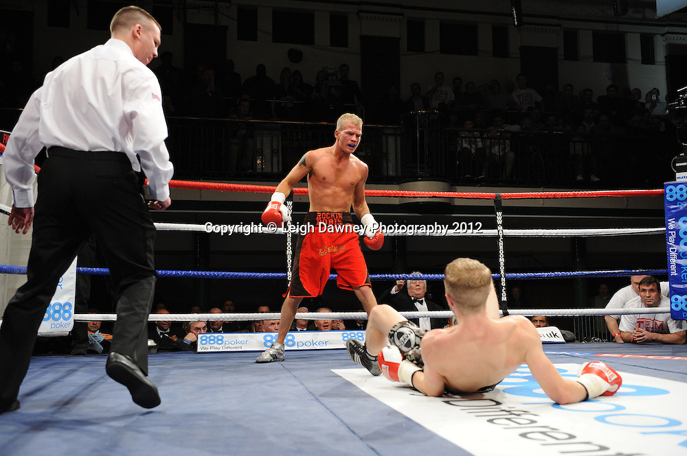 Ryan Taylor vs Robin Deakin in a 4x3min Lightweight contest on the 28th January 2012 at York Hall, Bethnal Green, London. Matchroom Sport. © Leigh Dawney Photography 2012.