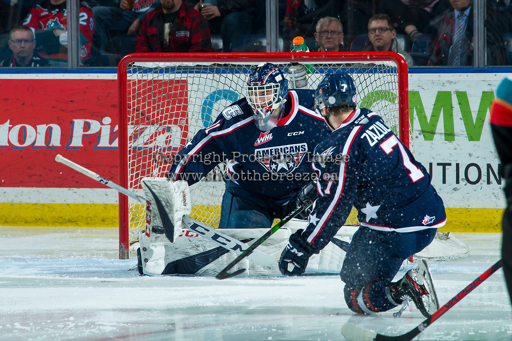 KELOWNA, BC - FEBRUARY 12: Talyn Boyko #31 of the Tri-City Americans makes a second period save against the Kelowna Rockets at Prospera Place on February 8, 2020 in Kelowna, Canada. (Photo by Marissa Baecker/Shoot the Breeze)