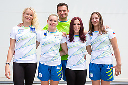 Adela Sajn, Teja Belak, Tjasa Kyseleff and Lucija Hribar with coach Andrej Mavric at press conference before European Championship 2018 Glasgow, on July 26, 2018 in Gimnasticna dvorana, Ljubljana, Slovenia. Photo by Matic Klansek Velej / Sportida