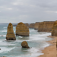 The Twelve Apostles are a group of limestone stacks off the shore of Port Campbell National Park in Victoria, Australia.  The apostles were formed by erosion from the Southern Ocean.