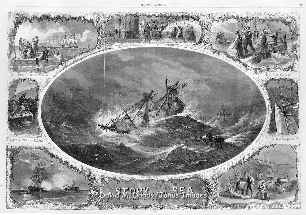 Civil War: Story of the Sea Incidents in the life of a sailor. Wreck and rescue at sea, Naval Engagement, Harper's Weekly March 1864
