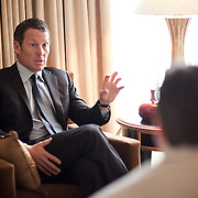 Lance Armstrong discusses health care issues with Politico's Patrick Gavin at the Mandarin Oriental hotel in Washington on Thursday, Mar. 24, 2011.  (Photo by Jay Westcott/Politico)
