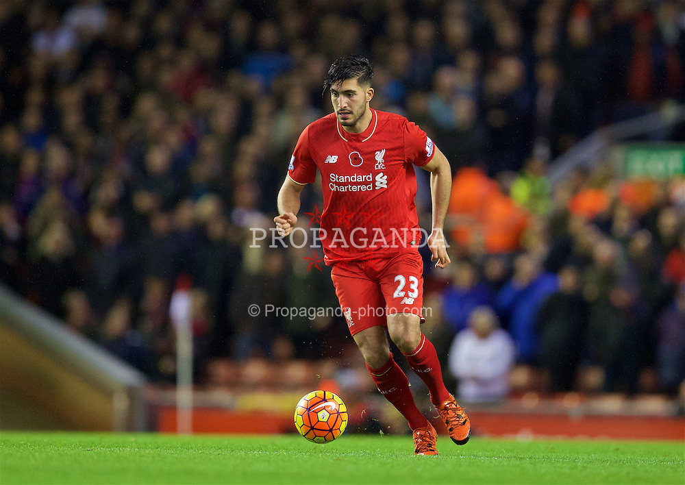 LIVERPOOL, ENGLAND - Sunday, November 8, 2015: Liverpool's Emre Can in action against Crystal Palace during the Premier League match at Anfield. (Pic by David Rawcliffe/Propaganda)