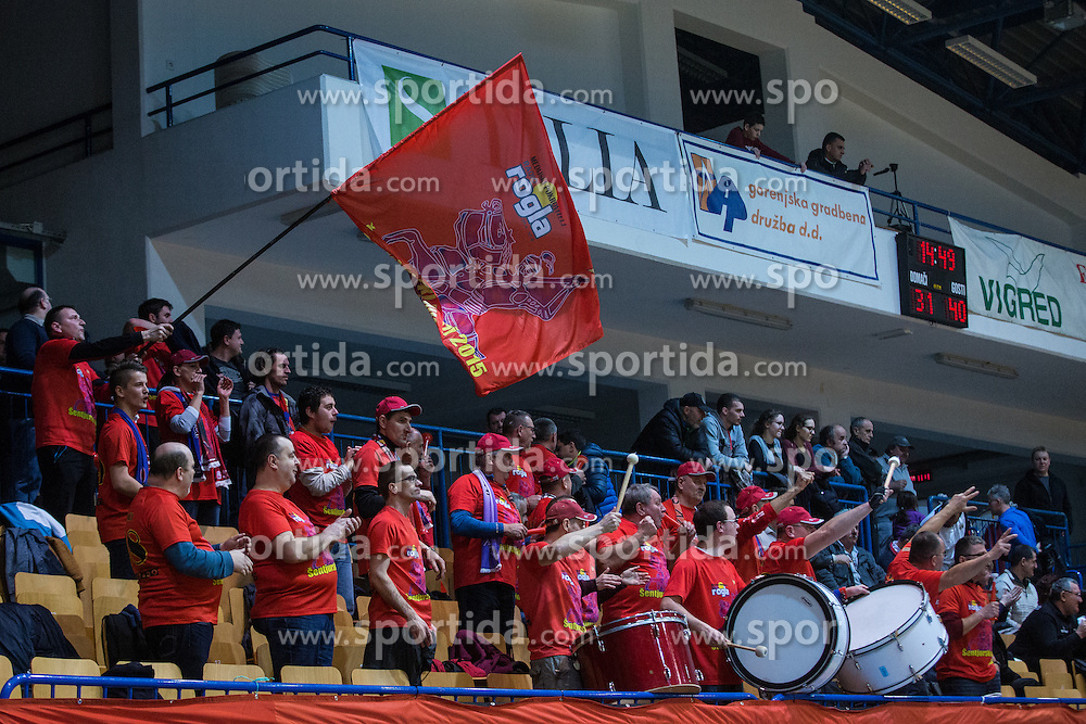 Fans of KK Tajfun Sentjur during basketball match between KK Sencur  GGD and KK Tajfun Sentjur for Spar cup 2016, on 16th of February , 2016 in Sencur, Sencur Sports hall, Slovenia. Photo by Grega Valancic / Sportida.com