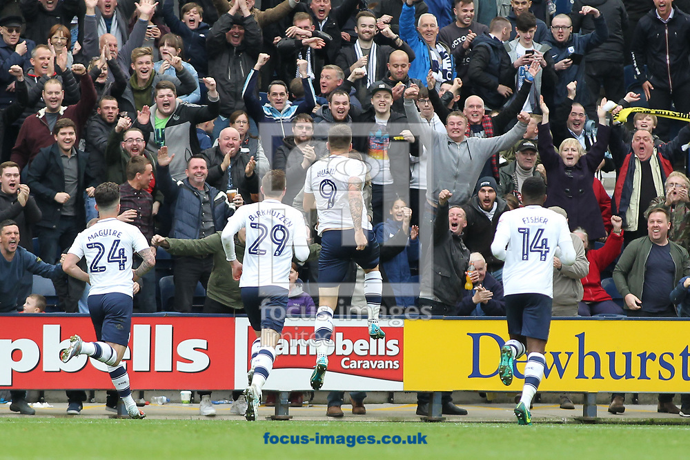 Jordan Hugill of Preston North End celebrates in front of the fans after scoring the second goal against Sunderland during the Sky Bet Championship match at Deepdale, Preston.<br /> Picture by Michael Sedgwick/Focus Images Ltd +44 7900 363072<br /> 30/09/2017