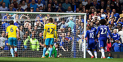 LONDON, ENGLAND - Sunday, May 3, 2015: Crystal Palace's goalkeeper Julian Speroni saves a penalty from Chelsea's Eden Hazard during the Premier League match at Stamford Bridge. (Pic by David Rawcliffe/Propaganda)