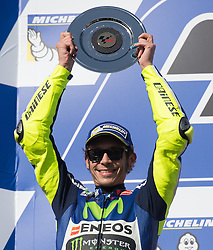 October 23, 2016 - Melbourne, Victoria, Australia - Italian rider Valentino Rossi (#46) of Movistar Yamaha MotoGP celebrates after finishing second after the MotoGP category race at the 2016 Australian MotoGP held at Phillip Island, Australia. (Credit Image: © Theo Karanikos via ZUMA Wire)