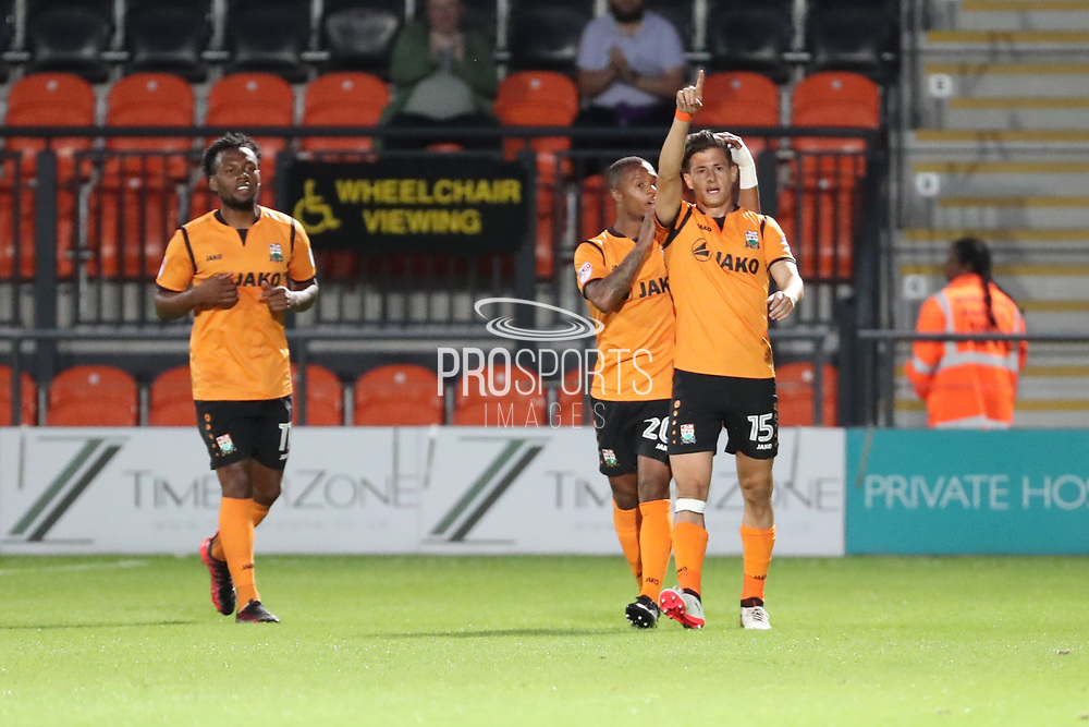Barnet midfielder Ruben Bover (15) celebration, celebrating, celebrate, score, goal, scoring, happy, emotion 1-1 during the EFL Trophy match between Barnet and AFC Wimbledon at Underhill Stadium, London, England on 29 August 2017. Photo by Matthew Redman.