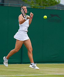 LONDON, ENGLAND - Friday, June 26, 2009: Georgie Stoop (GBR) during the Ladies' Doubles 2nd Round match on day five of the Wimbledon Lawn Tennis Championships at the All England Lawn Tennis and Croquet Club. (Pic by David Rawcliffe/Propaganda)