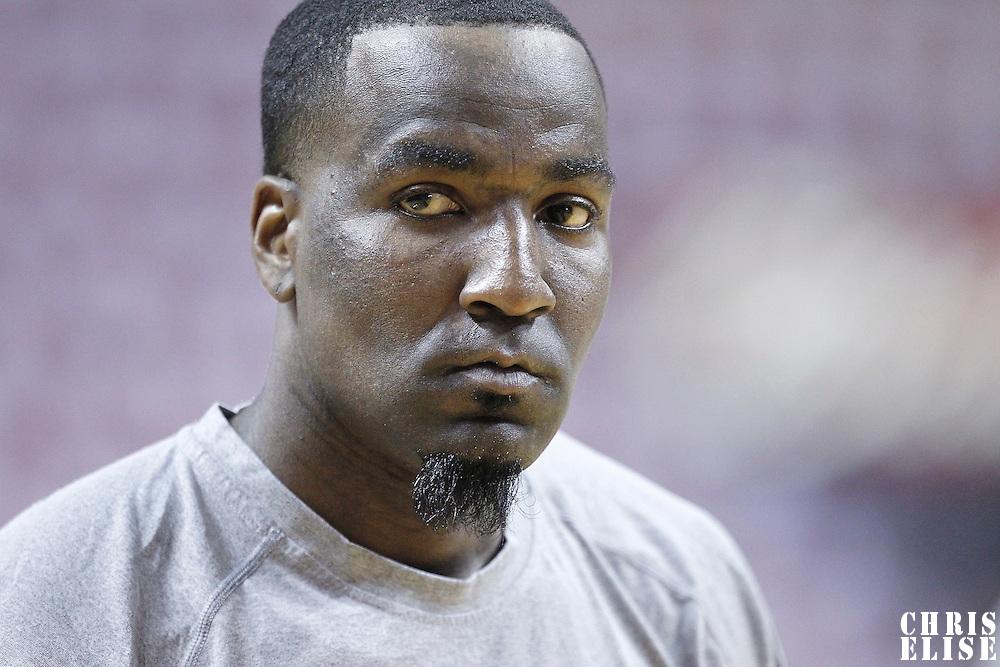 17 June 2012: Oklahoma City Thunder center Kendrick Perkins (5) warms up prior to Game 3 of the 2012 NBA Finals, Thunder at Heat, at the AmericanAirlinesArena, Miami, Florida, USA.