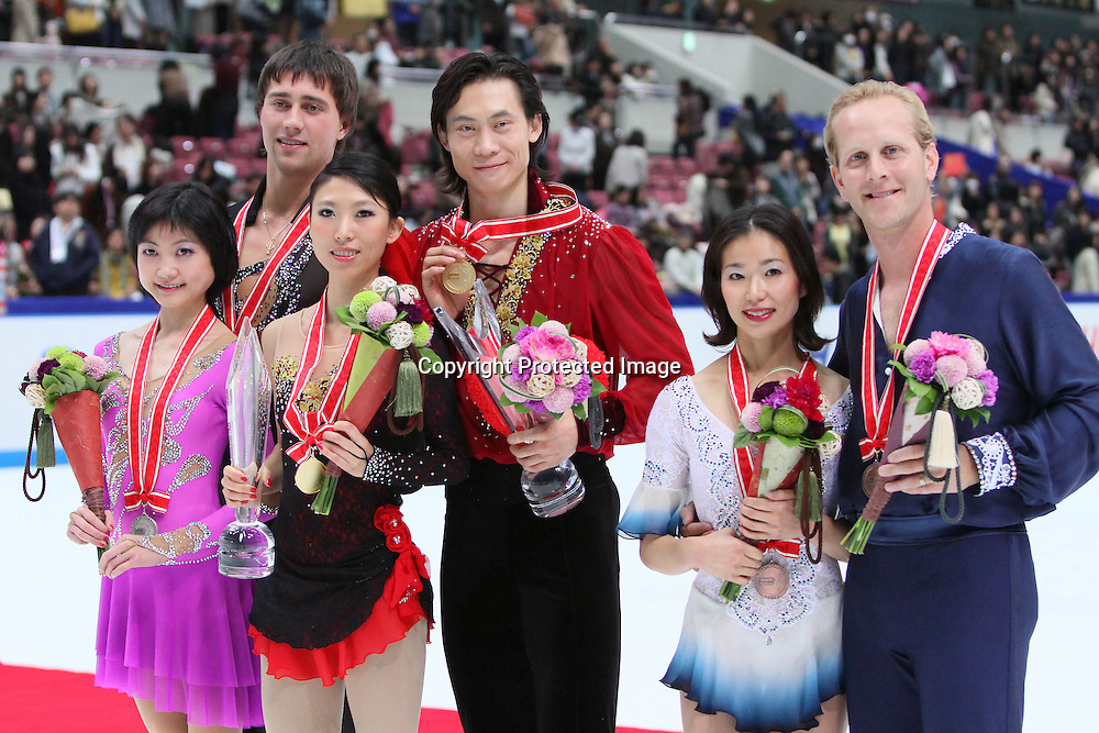 (L to R) Yuko Kawaguchi (RUS), Alexander Smirnov (RUS), Qing Pang (CHN), Jian Tong (CHN), Rena Inoue (USA), John Baldwin (USA), November 7, 2009 - Figure Skating :  ISU Grand Prix of Figure Skating 2009/2010, NHK Trophy Pairs victory ceremony at Nagano Big Hat, Nagano Japan. (Photo by Yusuke Nakanishi/AFLO SPORT) [1090]