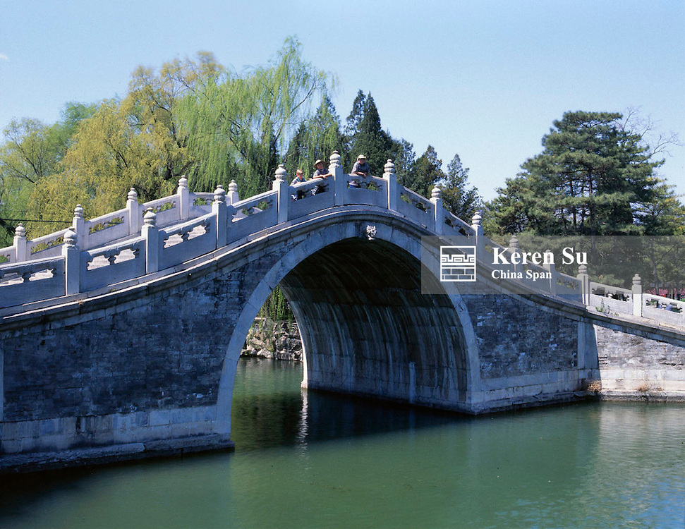A stone arch bridge over Kunming Lake in Summer Palace, Beijing, China