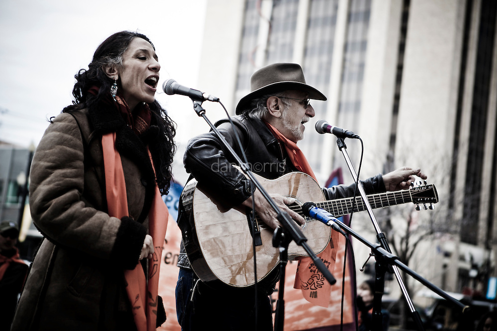 Peter Yarrow, of Peter, Paul and Mary, performs with his daughter outside the Federal Courthouse at a protest supporting Tim DeChristopher in downtown Salt Lake City.  Tim is facing ten years in prison on two felony charges for derailing an illegal sale of public land from the outgoing Bush administration to private oil and gas developers.