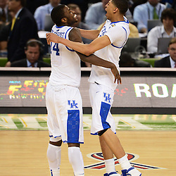 Apr 2, 2012; New Orleans, LA, USA; Kentucky Wildcats forward Anthony Davis (23) celebrates with forward Michael Kidd-Gilchrist (14) after defeating the Kansas Jayhawks 67-59 in the finals of the 2012 NCAA men's basketball Final Four at the Mercedes-Benz Superdome. Mandatory Credit: Derick E. Hingle-USA TODAY SPORTS