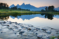 Dusk over the Teton Range from Schwabacher's Landing, Grand Teton National Park Wyoming