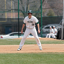 12 April 2014:  Jon Frericks takes a lead at first during an NCAA division 3 College Conference of Illinois and Wisconsin (CCIW) baseball game between the Augustana Vikings and the Illinois Wesleyan Titans at Jack Horenberger Stadium, Bloomington IL