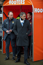 NOTTINGHAM, ENGLAND - Sunday, January 30, 2011: Manchester City's manager Roberto Mancini and coach David Platt during the FA Cup 4th Round match against Notts County at Meadow Lane. (Photo by David Rawcliffe/Propaganda)