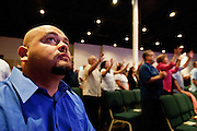 Rudy Ramirez attending Sunday services at New Life Community Church. Oxnard, Calif. (photo by Gabriel Romero ©2011)