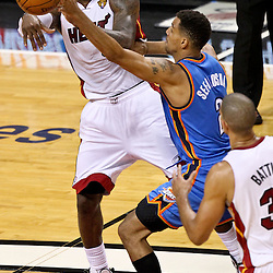 Jun 19, 2012; Miami, FL, USA; Miami Heat small forward LeBron James (6)passes the ball to small forward Shane Battier (31) past Oklahoma City Thunder shooting guard Thabo Sefolosha (2) during the second quarter in game four in the 2012 NBA Finals at the American Airlines Arena. Mandatory Credit: Derick E. Hingle-US PRESSWIRE