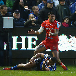 Denny Solomona of Sale Sharks over for a try but not given during the Gallagher Premiership match between Bath Rugby and Sale Sharks at the The Recreation Ground Bath England.2nd December 2018,(Photo by Steve Haag Sports)