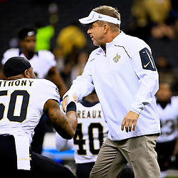 Sep 20, 2015; New Orleans, LA, USA; New Orleans Saints head coach Sean Payton talks with middle linebacker Stephone Anthony (50) before a game against the Tampa Bay Buccaneers at the Mercedes-Benz Superdome. Mandatory Credit: Derick E. Hingle-USA TODAY Sports
