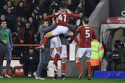 Nottingham Forest midfielder Matty Cash (41) celebrates with his team mates after scoring Forest's second goal 2-1 during the EFL Sky Bet Championship match between Nottingham Forest and Newcastle United at the City Ground, Nottingham, England on 2 December 2016. Photo by Jon Hobley.