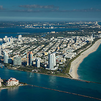 South Beach, Miami Beach and Government Cut aerial looking north