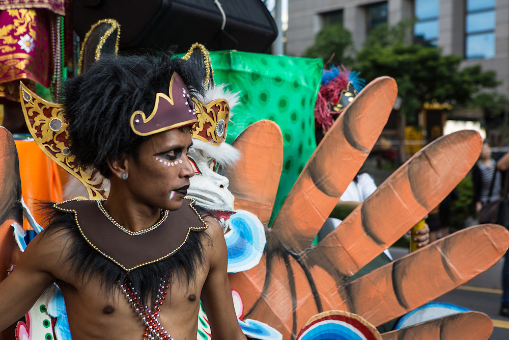 A close up of a young participant in the Dream Parade.