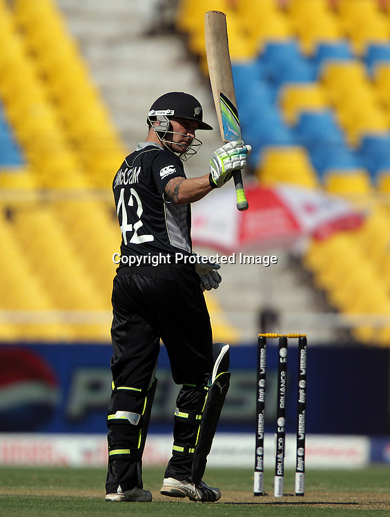 Brendon McCullum celebrates his half century. ICC Cricket World Cup 2011. New Zealand Black Caps v Zimbabwe. Sardar Patel Stadium. March 4, 2011. Ahmedabad, India. Photo: photosport.co.nz