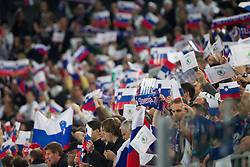 Supporters of Slovenia during ice-hockey match between Slovenia and Hungary at IIHF World Championship DIV. I Group A Slovenia 2012, on April 18, 2012 in Arena Stozice, Ljubljana, Slovenia.  (Photo by Vid Ponikvar / Sportida.com)