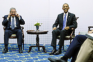 Cuba's President Raul Castro playfully pretends not to hear reporters' questions after he and U.S. President Barack Obama delivered remarks before their meeting during the Summit of the Americas in Panama City, Panama April 11, 2015. It was the first such meeting by U.S. and Cuban heads of state since 1959.