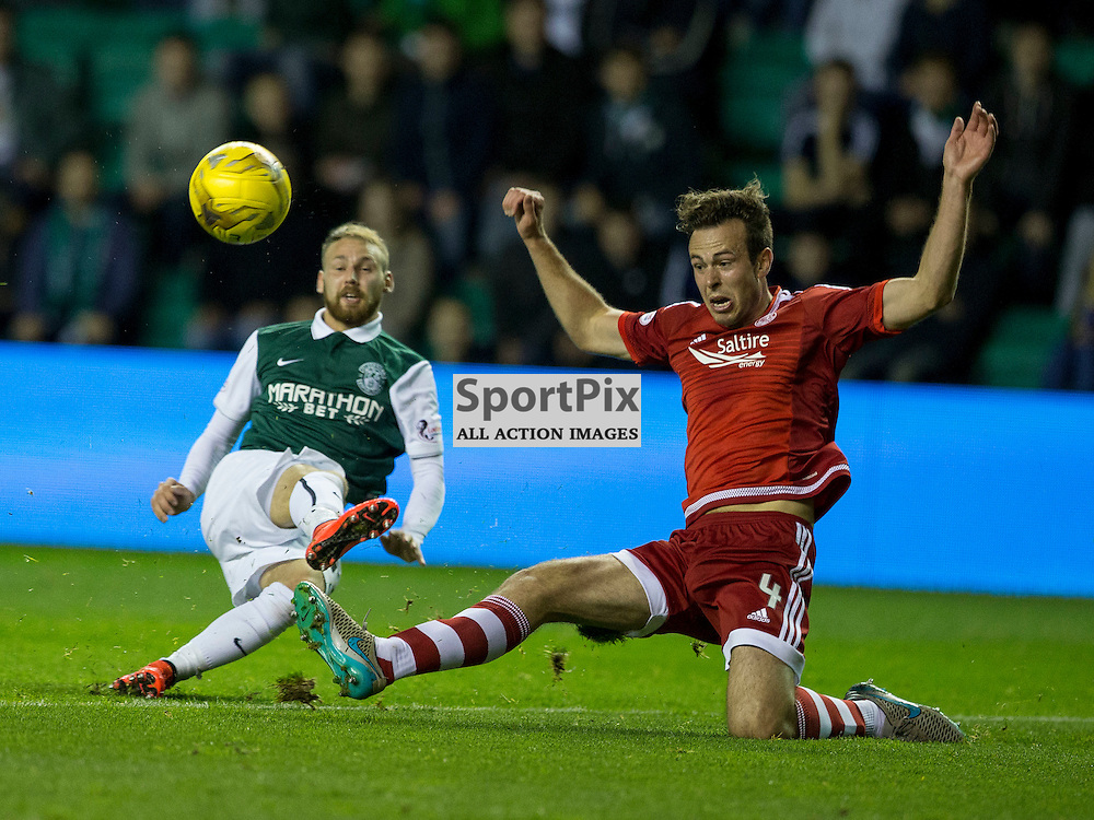 Hibernian FC v Aberdeen FC<br /> <br /> Martin Boyle (Hibernian) puts his shot wide during the Scottish League Cup clash between Hibernian and Aberdeen FC at Easter Road Stadium on 23 September 2015.<br /> <br /> <br /> <br /> Picture Alan Rennie.