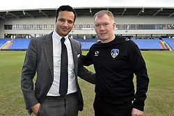 February 11, 2019 - Oldham, England, United Kingdom - Paul Scholes, pictured with club owner Abdallah Lemsagam is unveiled as Oldham Athletic manager at Boundary Park, Oldham on Monday 11th February 2019. (Credit Image: © Mi News/NurPhoto via ZUMA Press)