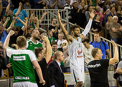 Devin Oliver #5 of KK Union Olimpija celebrates during basketball match between KK Union Olimpija and KK Rogaska in 4th Final game of Liga Nova KBM za prvaka 2016/17, on May 24, 2017 in Hala Tivoli, Ljubljana, Slovenia. Photo by Vid Ponikvar / Sportida