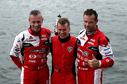 (Left to right) Philippe Chiappr of CTIC F1 Shenzhen China Team, Erik Stark of Maverick F1 and Peter Morin of CTIC F1 Shenzhen China Team after the race during the F1H2O UIM World Championship 2018 Grand Prix of London around Royal Victoria Dock