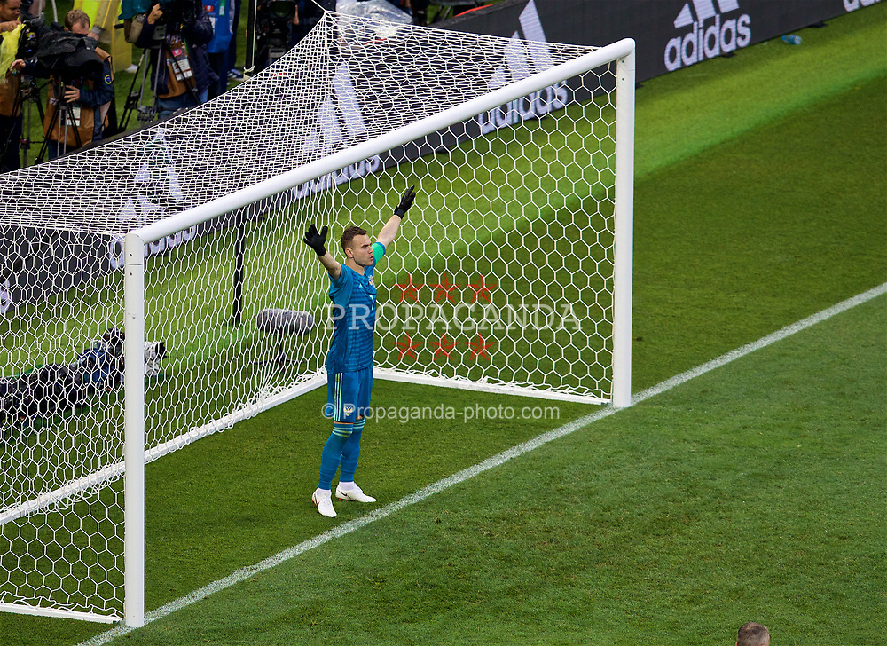 MOSCOW, RUSSIA - Sunday, July 1, 2018: Russia's goalkeeper Igor Akinfeev prepares to face Spain's third penalty of the shoot-out during the FIFA World Cup Russia 2018 Round of 16 match between Spain and Russia at the Luzhniki Stadium. Russia won 4-3 on penalties after a 1-1 draw. (Pic by David Rawcliffe/Propaganda)