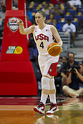 Team USA guard Lindsay Whalen brings the ball up the floor during the 2012 USA Women's Basketball Team versus Brazil at Verizon Center in Washington, DC.  USA won 99-67.  July 16, 2012  (Photo by Mark W. Sutton)
