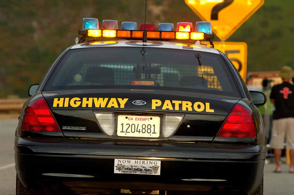 Highway Patrol Car at Bixby Bridge, Highway 1, Cabrillo Highway, Big Sur, California, United States of America