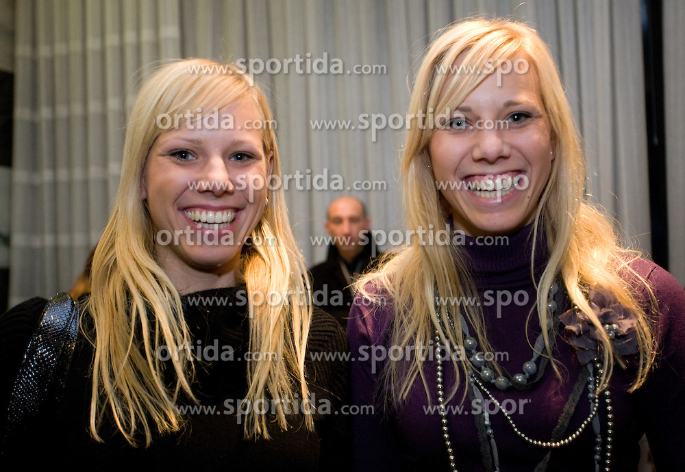 Dasa and Petra Farcnik at press conference of Slovenian swimmer Sara Isakovic when her club PK Zito Gorenjka Radovljica signed a sponsorship contract with a new sponsor Zavarovalnica Triglav, on December 21, 2009, in Zavarovalnica Triglav, Ljubljana, Slovenia. (Photo by Vid Ponikvar / Sportida)